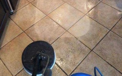 Professional Floor Cleaning Before and After Photo - Tile & Grout